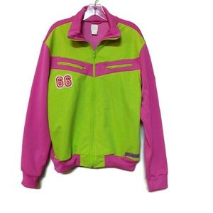 Adidas Vintage Pink and Lime Green Jacket 🌈